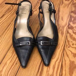 Circa Joan and David black leather heels